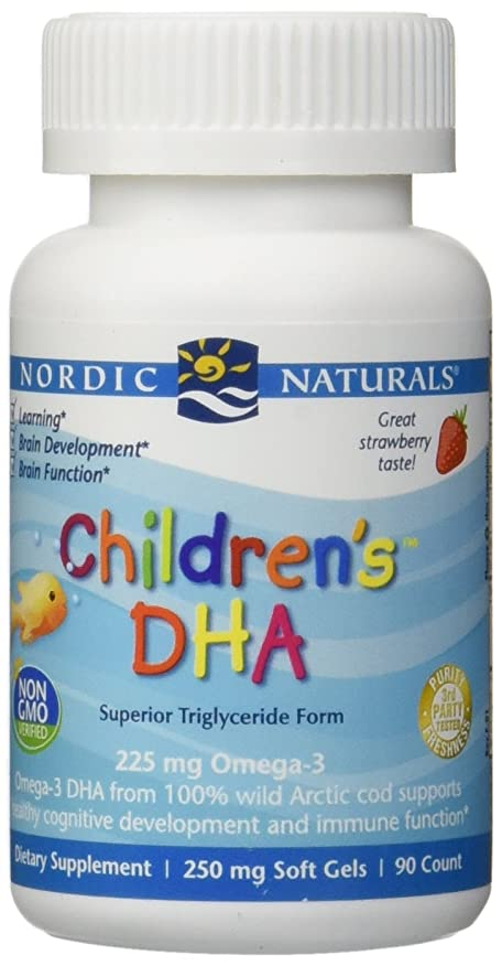 修正後ろに外交官海外直送品Nordic Naturals Children''s DHA Strawberry, Strawberry 90 softgels 250 mg