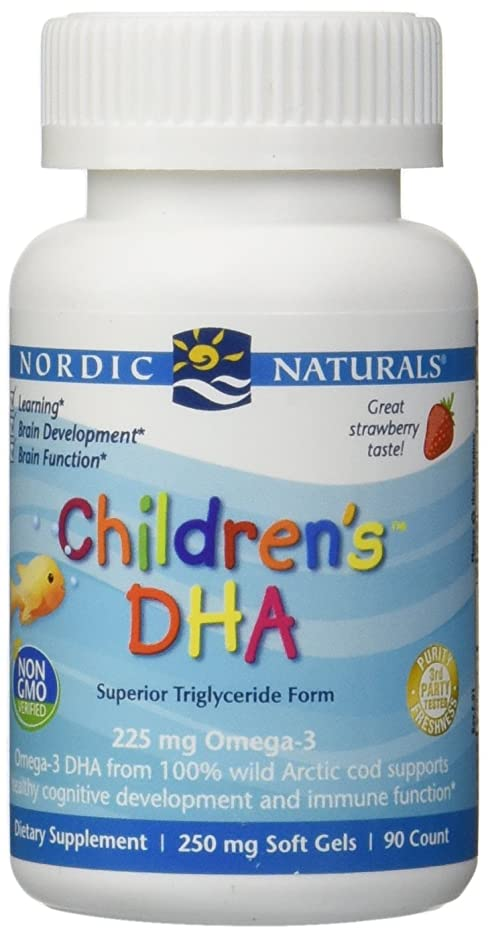 媒染剤故障確かに海外直送品Nordic Naturals Children''s DHA Strawberry, Strawberry 90 softgels 250 mg