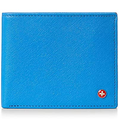 Alpine Swiss RFID Luka Men's Flip ID Wallet Deluxe Capacity ID Bifold With Divided Bill Section Camden Collection Crosshatch Aqua
