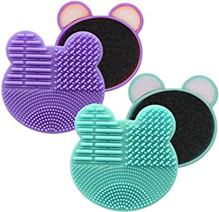 2-Pack Color Removal Sponge, 2 in 1 Dry Makeup Brush Quick Cleaner Sponge - Brush Cleaning Pad Mat - Portable for Travel (...