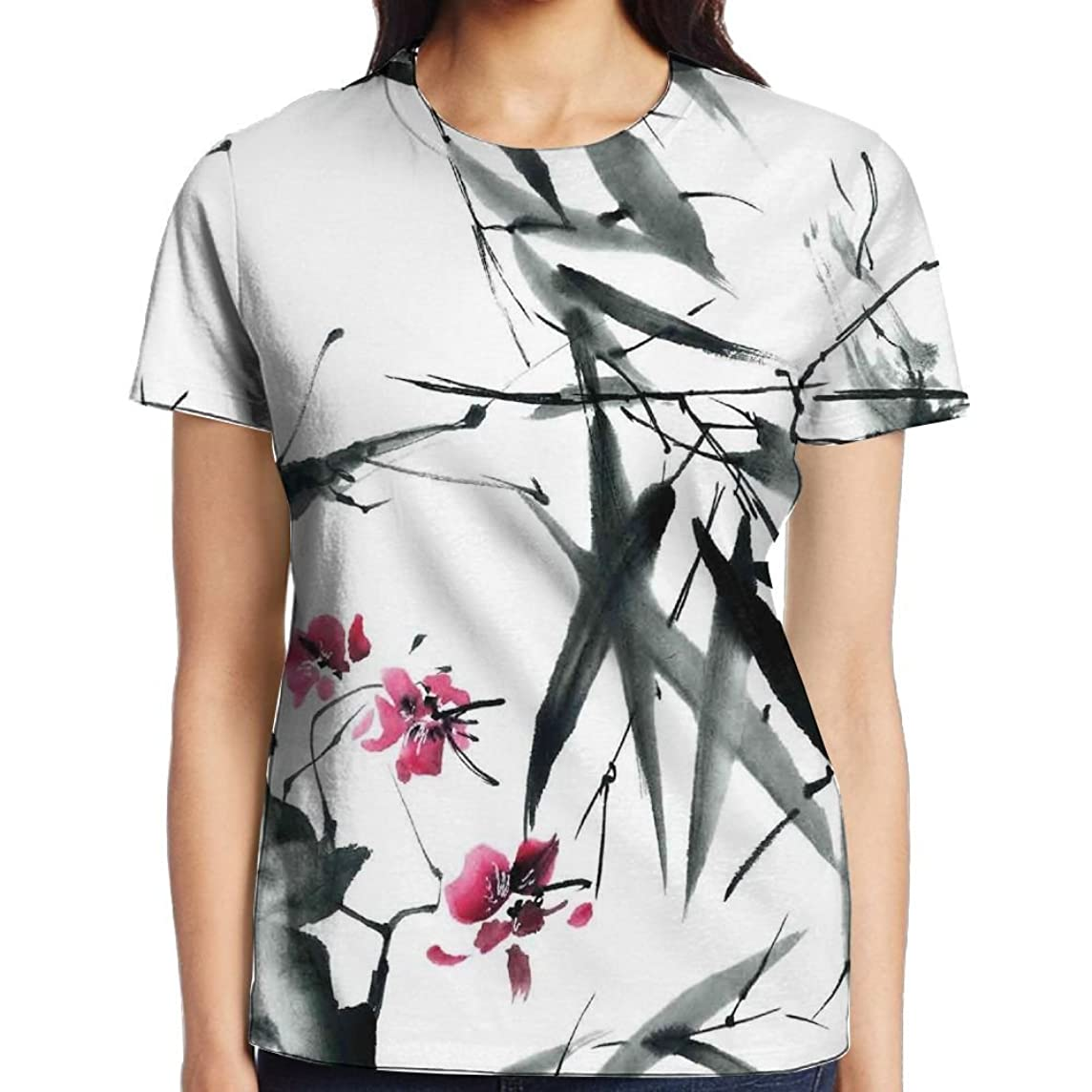 WuLion Natural Sacred Bamboo Stems Cherry Blossom Folk Art Print Women's 3D Print T Shirt White
