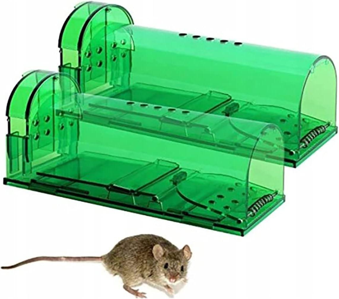 Retoo Trampa para Ratones Reutilizable de 2 Piezas con Agujeros de Aire, Trampa para Ratones Vivos para Uso Interior y Exterior, Jaulas para Ratones aptas para Mascotas, Verde