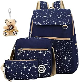 ASM ANNA Canvas School Backpack Set 3 Pieces Patterned Bookbag with Pencil Case