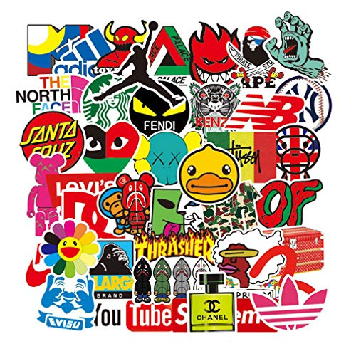 105 pcs Street Fashion Brand Cool Stickers for Laptop Vinyl Stickers Pack Decals for Waterbottle Motorcycle Bicycle Skateboard Luggage Hydro Flask Snowboard Decal Graffiti MacBook iPhone Stickers for Adults Teens
