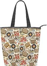 Carla Lalli Music ImageWomen Canvas Shoulder Bag Casual Tote Bag, Travel Shopping Bags Canvas Purse.