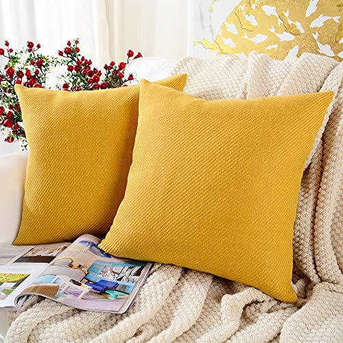 MERNETTE Pack of 2, Chenille Soft Decorative Square Throw Pillow Cover Cushion Covers Pillowcase, Home Decor Decorations For Sofa Couch Bed Chair 16x16 Inch/40x40 cm (Yellow)