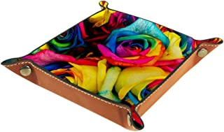 BestIdeas Panier de rangement carré de 20,5 × 20,5 cm, avec roses colorées, boîte de rangement sur table pour la maison, l...