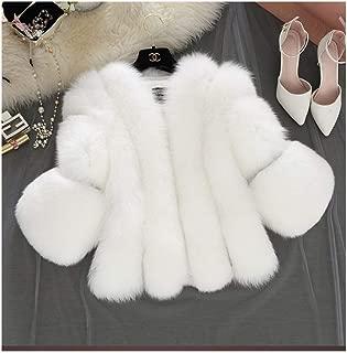 Guomao Autumn and Winter Fur Imitation Fox Fur Women's Fur Coat Splicing (Color : White, Size : XXXL)