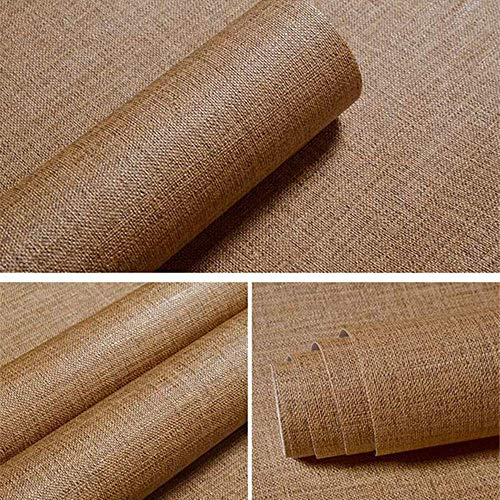 Faux Grasscloth Peel Stick Wallpaper Fabric Self-Adhesive Contact Paper Linen Firea Place Kitchen Backsplash Wall Stickers Door Sticker Counter Top Liners(40cmx300cm)(1.31ft x 9.84ft) (Coffee)
