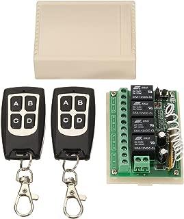 ワイヤレスリレーモジュール ワイヤレスリモコン ワイヤレススイッチ リレースイッチ コントロールスイッチ 433MHz DC 12V 4CH 二つRF送信機付き