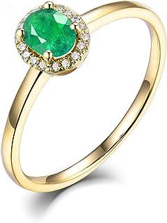 Daesar Anelli Donna Oro 14K, Anelli Donna Fidanzamento Anello Solitario Smeraldo 0.3ct Anelli Nuziali Oro