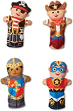 Melissa & Doug Bold Buddies Hand Puppets (Set of 4) - Frustration Free Packaging - Knight, Pirate, Sheriff, and Superhero, Multicolor