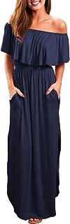 OYANUS Womens Off The Shoulder Ruffles Pockets Dress Side Split Maxi Dresses