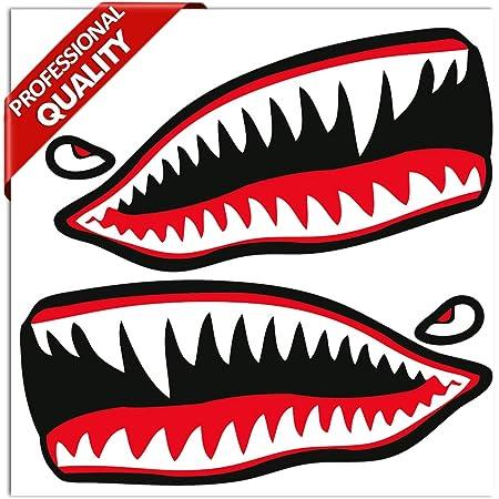 Skinoeu 2 Stück Vinyl Aufkleber Autoaufkleber Rot Haifischmaul Zähne Haifisch Shark Teeth Fischen Meerestier Fischerboot Stickers Spiegel Auto Moto Motorrad Fahrrad Helm Fenster Tür Tuning B 64 Auto