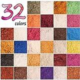 DEWEL Mica Polvere Mica Powder 5g*32 Colori Pigmenti per Slime, Resina Epossidica, Candele, Acquerello, Cosmetici, Fimo