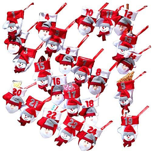 infactory Weihnachtskalender: Adventskalender-Girlande mit 24 Nikolaus-Handschühchen (Adventskalender zum Befüllen)