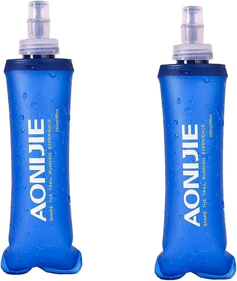 AONIJIE Paquete de 2 botellas de agua de TPU suave de hidratación sin BPA plegable en chaleco de hidratación para maratón, correr, senderismo, ciclismo (250 ml/2 x 8.40 oz (no paja))