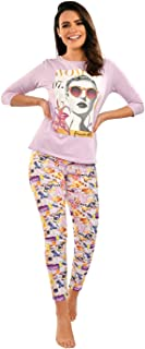 Habiba Cotton Round-Neck Long Sleeves Printed Top with Leggings Pajama Set for Women