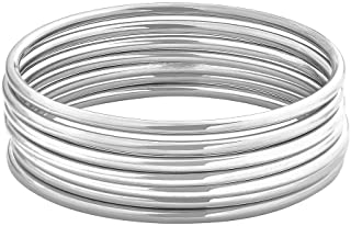 """Edforce Stainless Steel Glossy Thin Round Bangle Bracelet Set for Women, Set of 7, 7.8"""" Inches"""