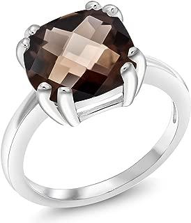 Gem Stone King 3.07 Ct Cushion Checkerboard Brown Smoky Quartz 925 Sterling Silver Ring