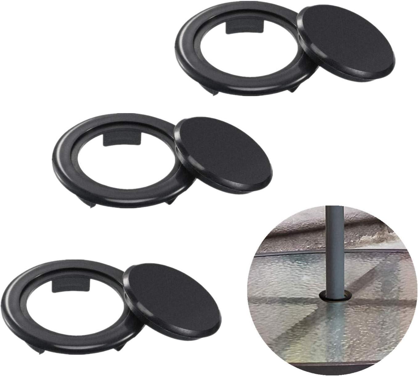 FCOUIID Tapón de agujero para mesa de patio de 5 cm y anillo para mesa de cristal al aire libre, evita que el paraguas se balancee y rompa la mesa de cristal, negro (3 piezas)