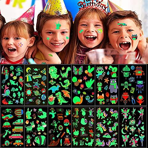 Tattoo Kinder,12 Blätter Im Dunkeln Leuchtende Mixed Style Cartoon Tattoo Temporäre Tattoos für Kinder,Kinder Tattoo Mädchen&Jungen Festival Party Geschenk Mitgebsel Dekoration