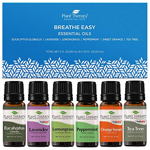 Plant Therapy Breathe Easy Essential Oil Set - Lavender, Eucalyptus, Peppermint, Lemongrass, Orange Sweet, Tea Tree, 100% Pure, Aromatherapy, Therapeutic Grade 10 mL (1/3 oz)