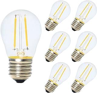 6X E27 Bombillas de Filamento Globo LED G45 2W Blanco Calido 2700K Diametro 45MM Equivalencia Bombillas Incandescentes 20W