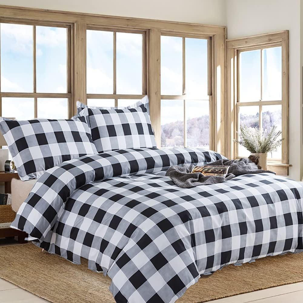 Max 61% OFF Free shipping TEALP Buffalo Plaid Check Bedding Bla 3pcs Set Duvet Cover