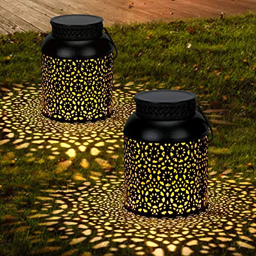 2 Pack Solar Lanterns, GolWof Hanging Solar Lantern Outdoor Metal LED Table Lamp Decorative Solar Lights Waterproof for Garden Patio Fence Pathway Party, Black