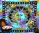Popular Handicrafts Hippie Tapestry Psychedelic Celestial Indian Sun Moon Hippie Hippy Tapestry Wall Hanging Throw Tie Dye Boho Bohemian Tye Die Tapestries Wall Art 90x84 Inches,(215x230cms)