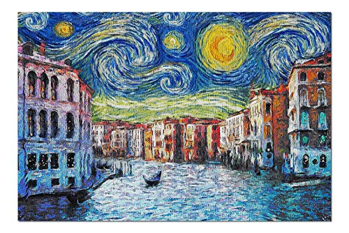 Promini Venice, Italy - Starry Night - Van Gogh - 1000 Piece Jigsaw Puzzles for Adults Kids, Puzzles for Toddler Children Learning Educational Puzzles Toys for Girls Boys 20' x 30'