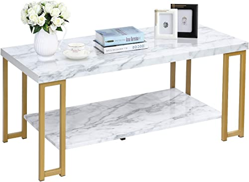 high quality Giantex Coffee Table Rectangular, 2-Tier W/Gold Print Metal Frame and sale Hollow Metal Legs, Upgraded Water Resistant Version new arrival for Living Room Accent Furniture Beside Sofa Cocktail Table online sale