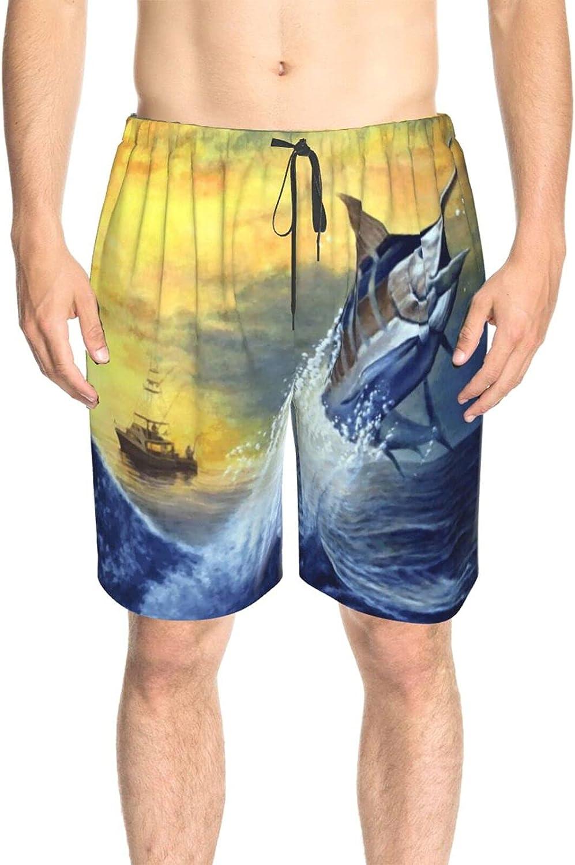 Men's Swim Trunks Sunset Sea Waves Fish Beachwear Board Shorts Drawstring 3D Printed Swimwear Beach Shorts with Lining