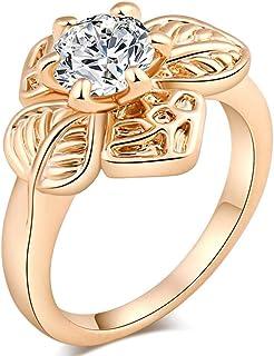 Women Elegant Zircon Flower Shaped Round Ring