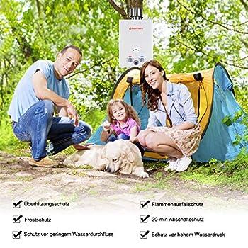 Camplux BW158C Chauffe-eau instantané à gaz avec housse de pluie, Tankless LPG Chauffe-eau portable 6 l, 12 kW, 50 mbar, pour camping, douche de chevaux