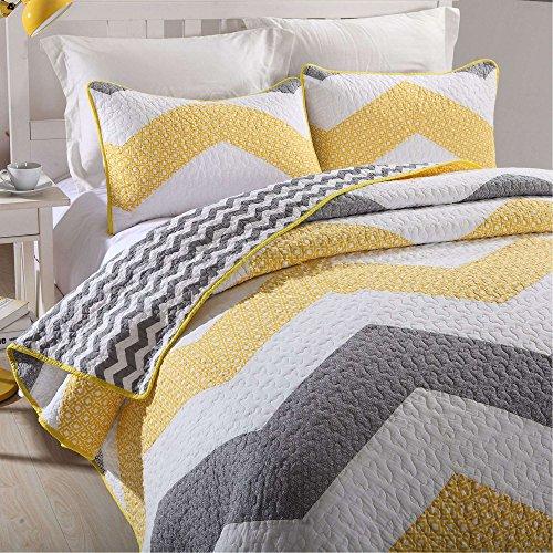 Topmail 3tlg Tagesdecke Patchwork Baumwolle 100prozent Bettüberwurf Steppdecke 230 x 240 cm Tagesdecken Gesteppt inkl 2 Kissenbezug (Gelb)