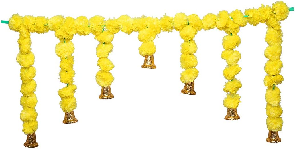 Artificial Marigold National uniform free shipping Fluffy Flowers Garlands Door Max 69% OFF Dec Toran Set