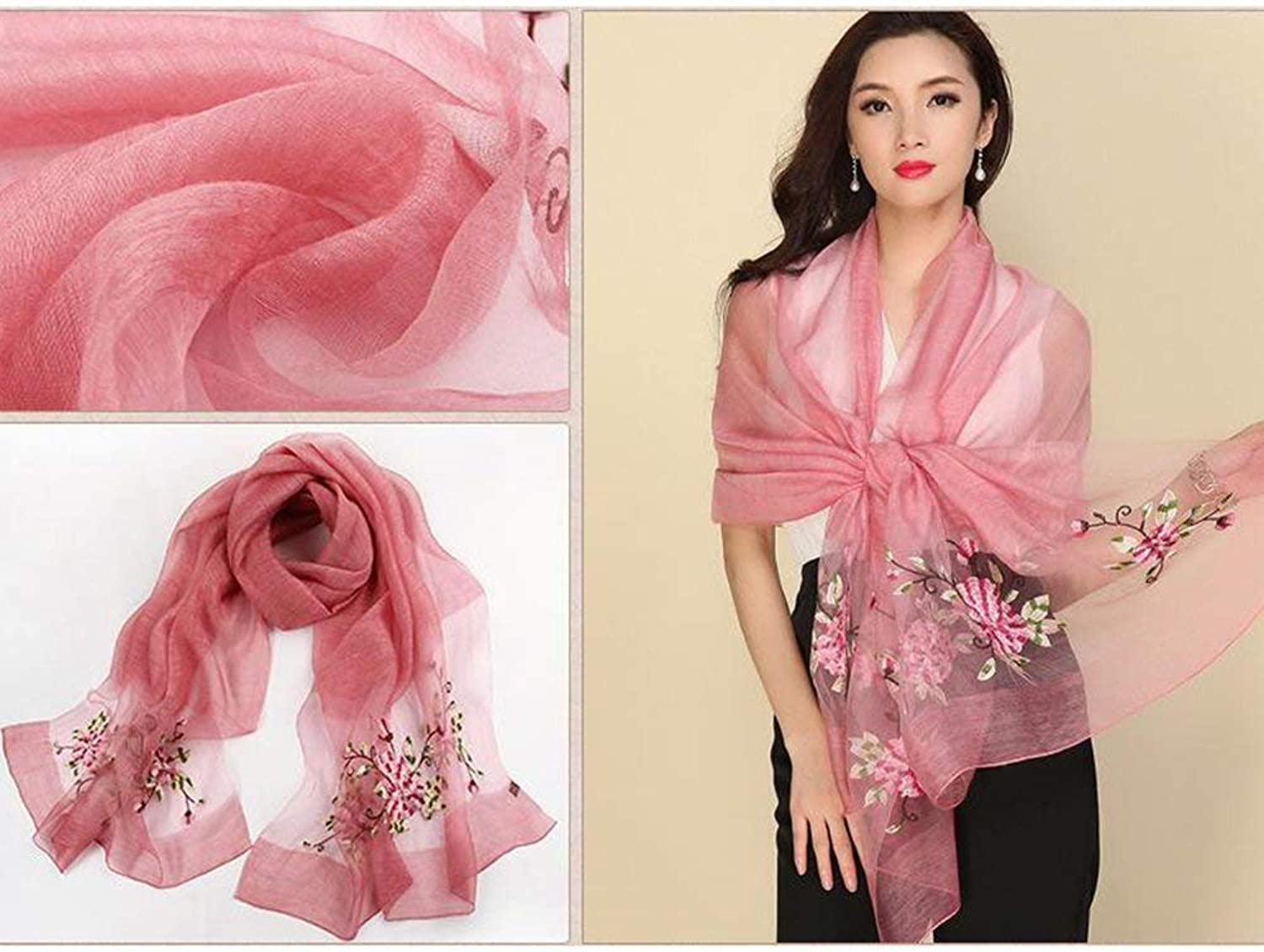 PLLP Sun Predection Warm Scarf, Windproof Scarf Female Silk Scarf Spring and Autumn Silk Embroidery Scarves Sunscreen Shawl Beach Scarf for Gift