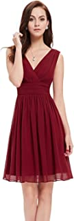 Double V-Neck Ruched Waist Short Cocktail Party Dress 03989