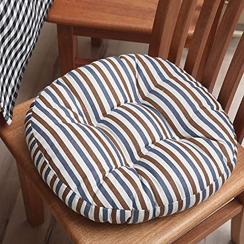 Cuscini per sedie 4 pezzi Cuscino per sedile rotondo traspirante Cuscino per sedile per computer Sgabello in lino di cotone spesso per la casa-7||50cm in diameter