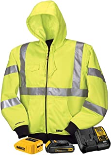 DeWALT - Large - 20/12-Volt High Visibility MAX Unisex Heated Hoodie with 20-Volt Lithium-Ion MAX Battery and Charger - Yellow - DCHJ071C1