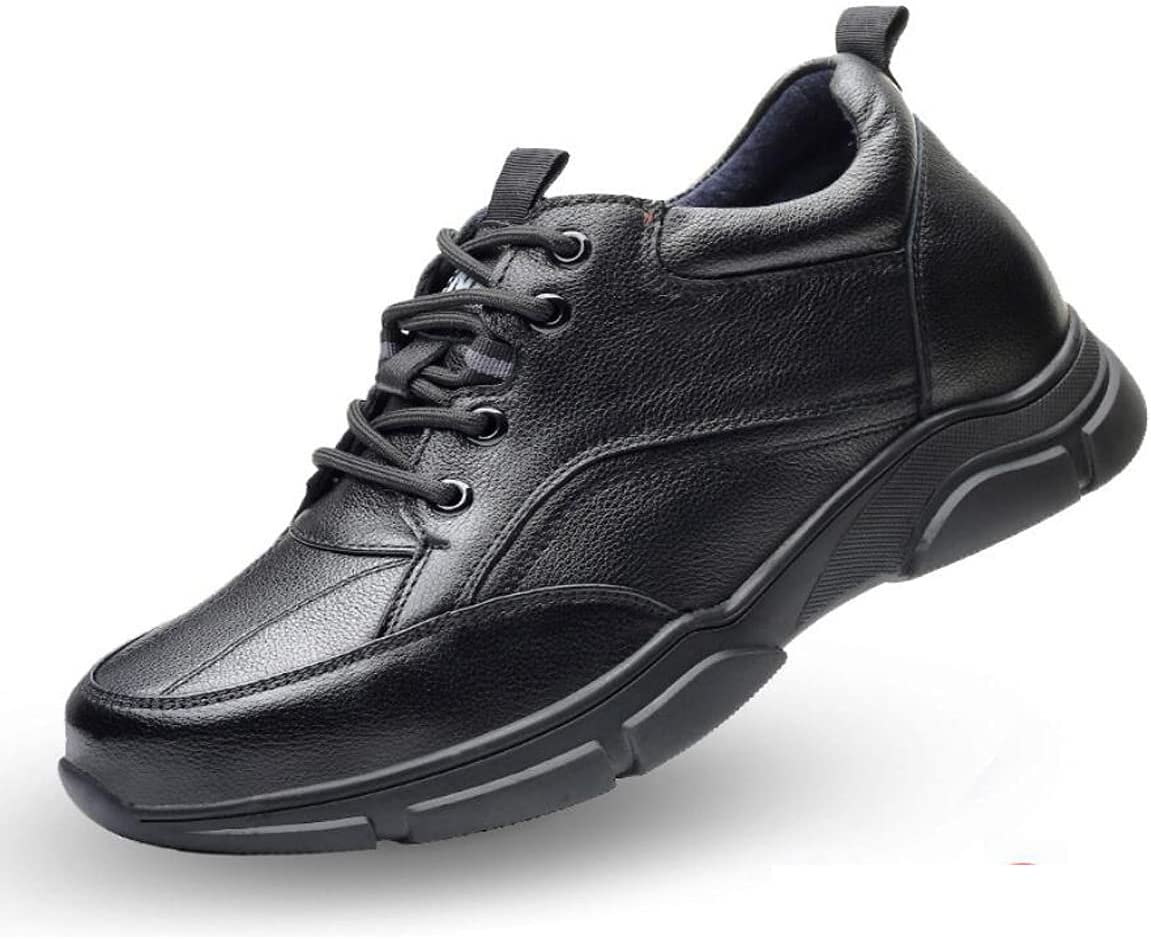 LHRFC Men Genuine Leather Height Increasing Elevator Shoes Increase Men's Height 6CM 8CM Invisibly Business Wedding Man Shoes Autumn and Winter Black8cm-EU38