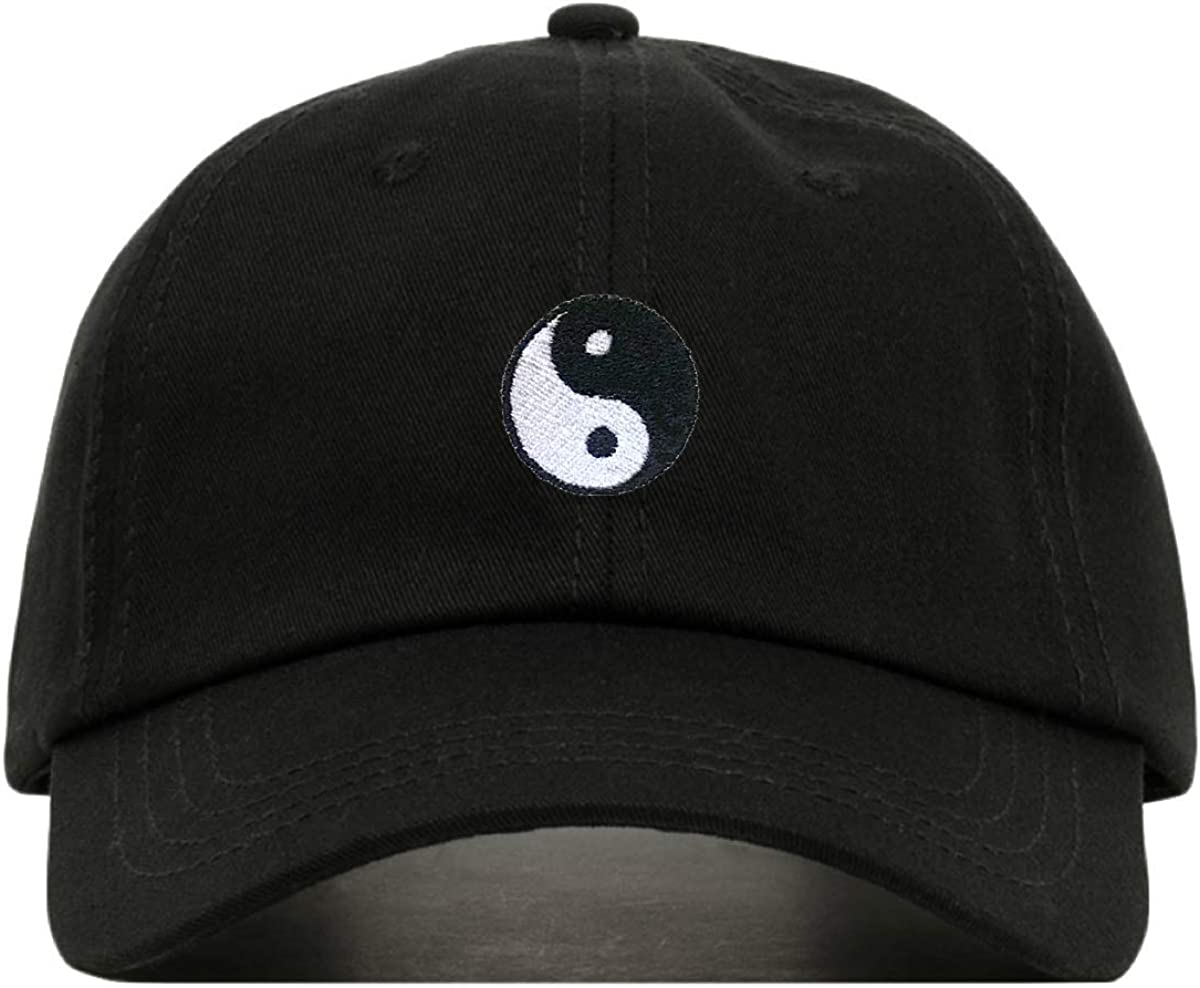 Yin Yang Baseball Hat, Embroidered Dad Cap, Unstructured Soft Cotton, Adjustable Strap Back (Multiple Colors)