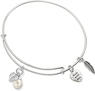Enni of York Angel Wing with Pearl Expandable Silver-Tone Bangle Bracelet