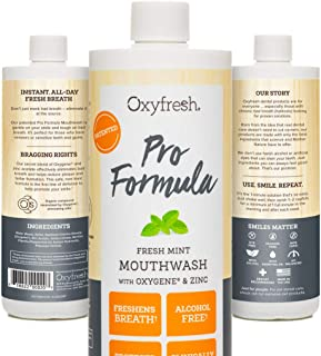 Oxyfresh Mouthwash Patented Pro Formula Cosmetic Fresh Mint with Zinc - Dentist Recommended - Fresh Breath - No Artificial Colors, Alcohol Free. - 1 Bottle 16 oz.