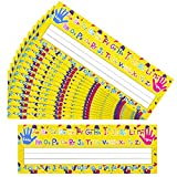 50 Pieces Classroom Name Tag Multipurpose Manuscript Name Plates Alphabet Desk Nameplate Self Adhesive Desk Plate Topper for Pre-Kindergarten to Primary School
