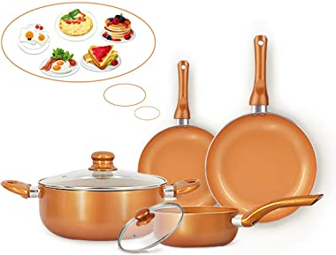 FRUITEAM 6-piece Nonstick Kitchen Cookware Set, Ceramic Coating Cooking Pot and Pans Set, Stock Pot/Milk Pot/Frying Pans Set,