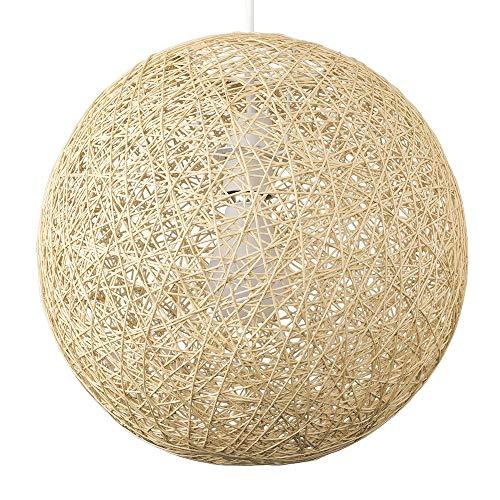 MiniSun – Korb Lampenschirm in Kugelform aus creme Papiergeflecht, 30cm – Korblampenschirm hängend aus Papier Geflecht – Korbschirm für Wohnzimmer und Schlafzimmer (Papier-Geflecht, Creme, 30 cm)