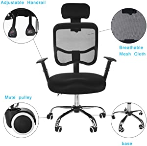 Office Chair High Back Mesh Chair Computer Ergonomic Chair Lumbar Support Comfortable Modern Executive Adjustable Stool Rolling Swivel Chair Wide Seat Desk Chair Stool with Armrest & Headrest (Black)